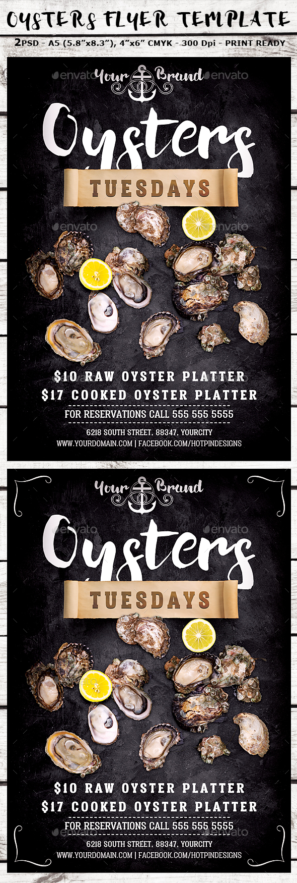 Oysters Promotion Flyer Template - Restaurant Flyers