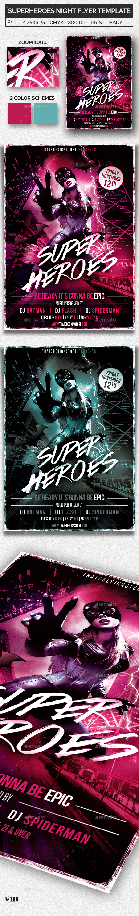 Superheroes Night Flyer Template - Clubs & Parties Events