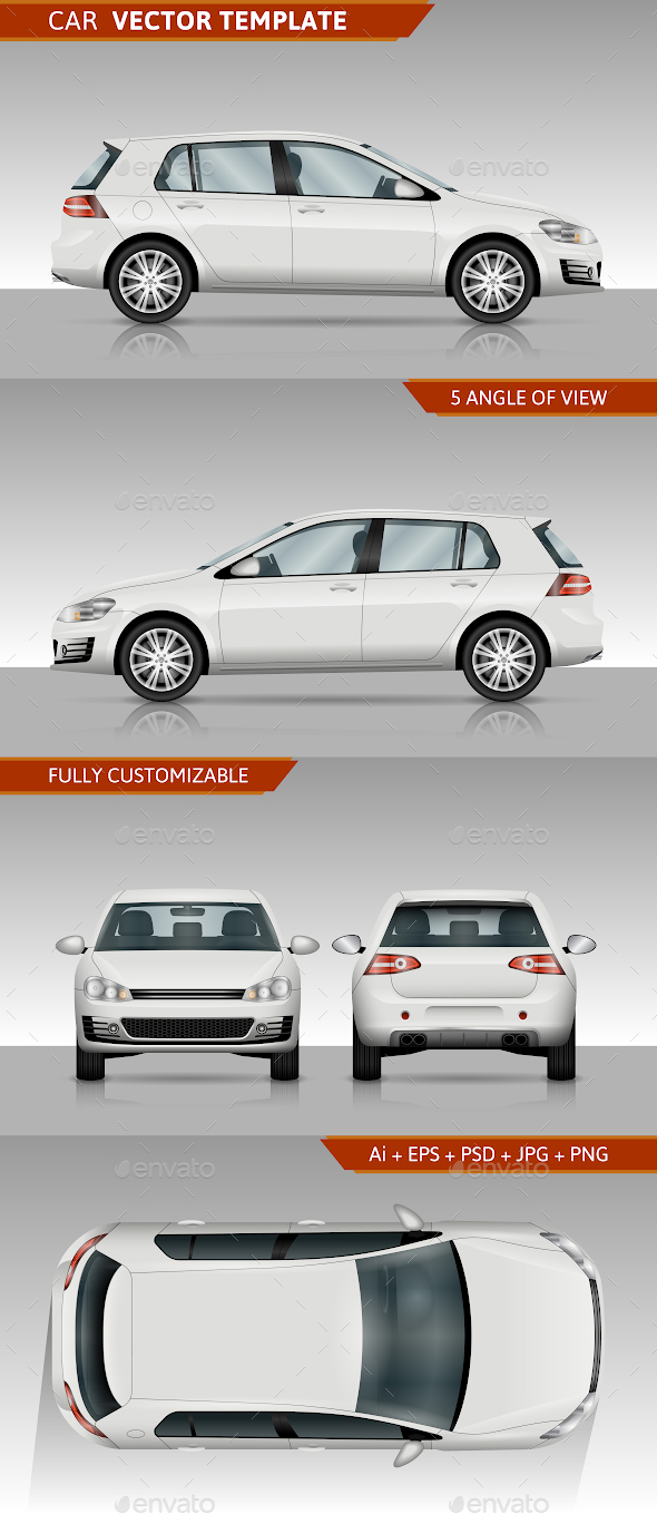 Hatchback Car Vector Template - Man-made Objects Objects