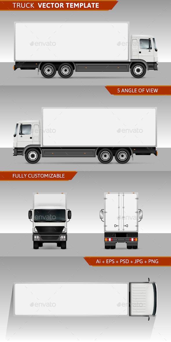Delivery truck Vector template - Man-made Objects Objects