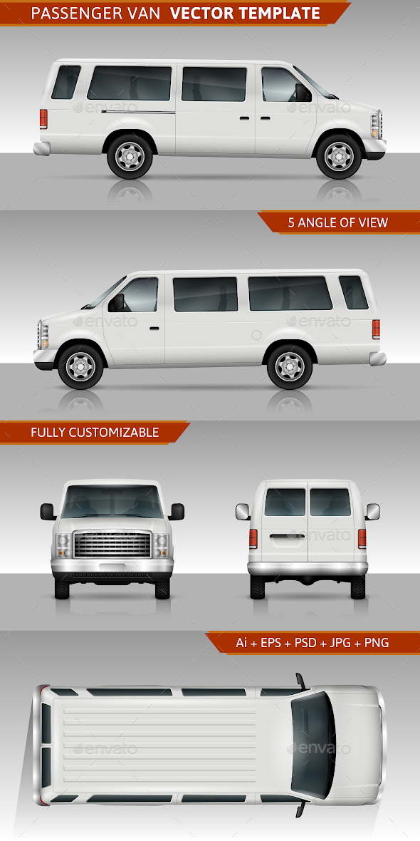 Passenger Van Vector Template - Man-made Objects Objects