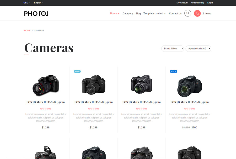 Photo Bootstrap 4 Ecommerce Template By Ondrique Themeforest