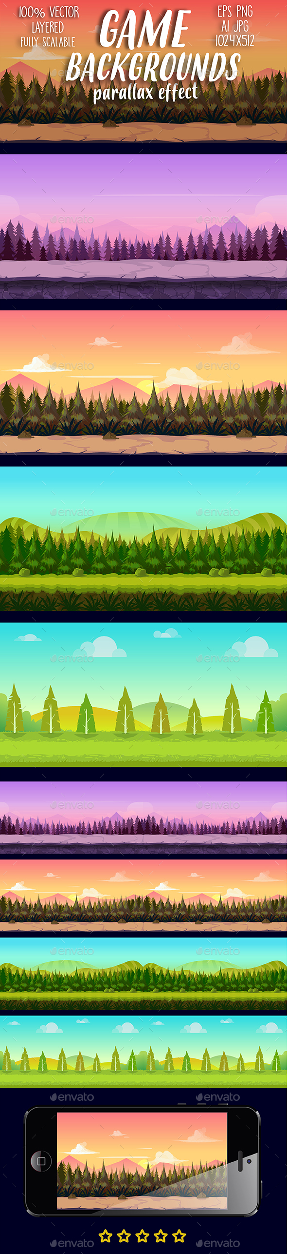 Game Backgrounds Set - Backgrounds Game Assets