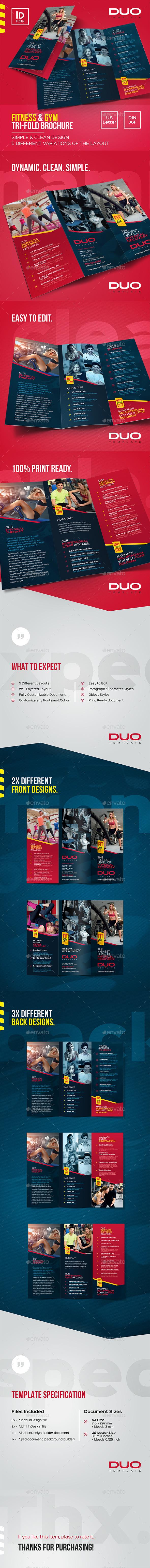 GraphicRiver Fitness & Gym Tri-fold Brochure 20246586