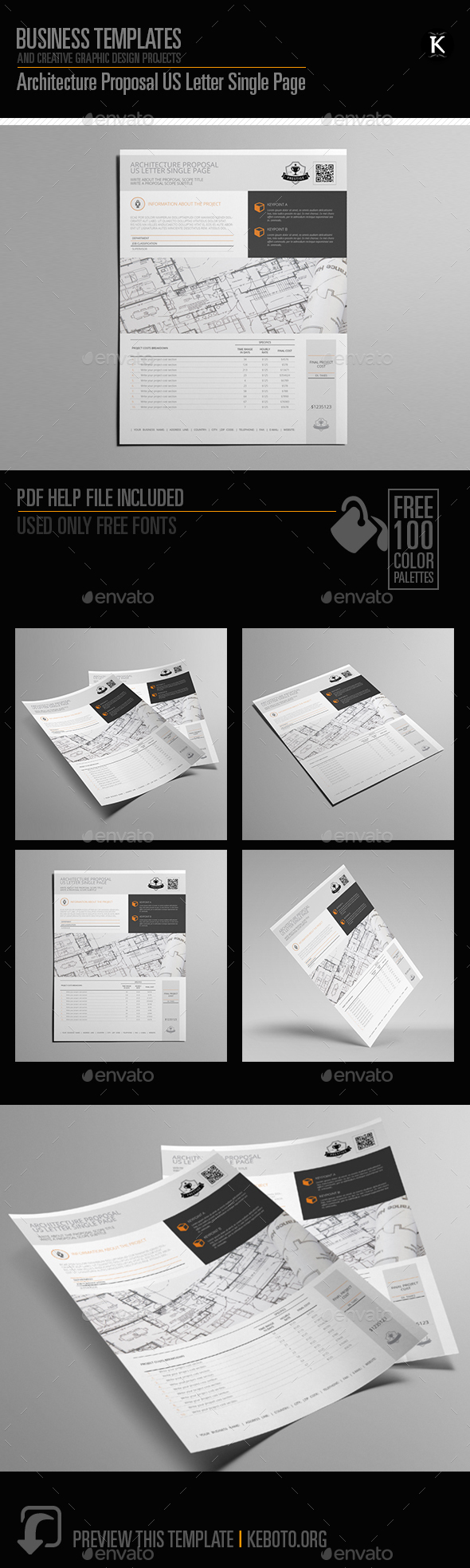 Architecture Proposal US Letter Single Page - Miscellaneous Print Templates