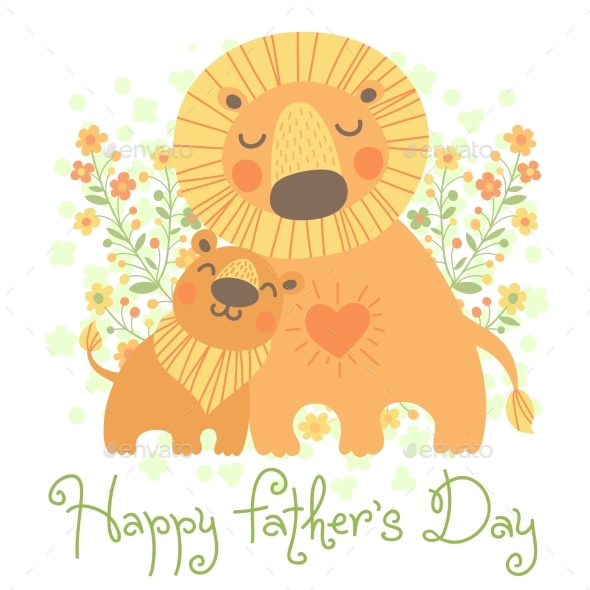 Happy Father's Day Card - Animals Characters