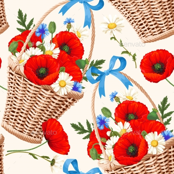 GraphicRiver Basket with Flowers Seamless 20246656