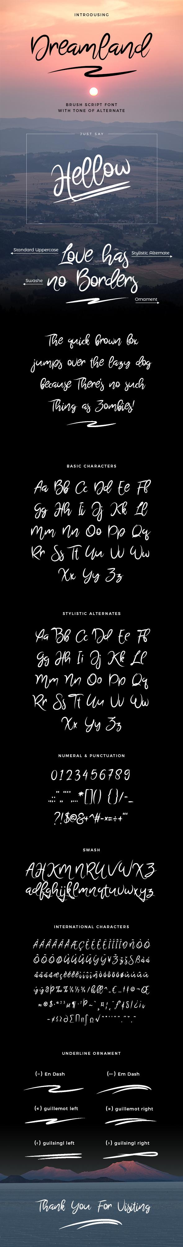 Dreamland Brush Script Font - Script Fonts