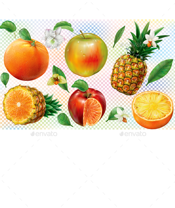 Mix of Pineapple with Orange and Apple Fruits - Food Objects