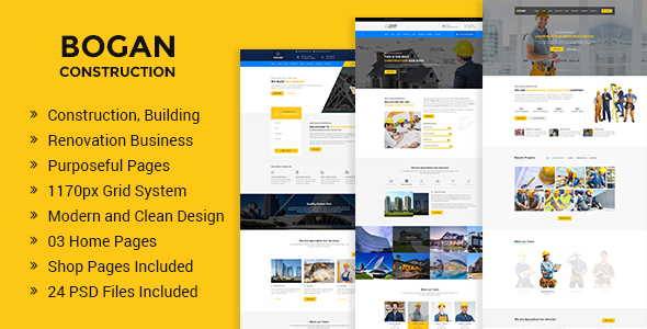 Bogan - Construction Building and Renovation Business PSD Template - Business Corporate