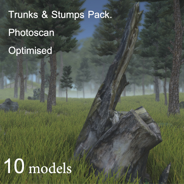 Trunks & Stumps Pack. Photoscan Optimised - 3DOcean Item for Sale