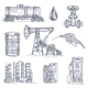 Oil Industry Drawn Icon Set