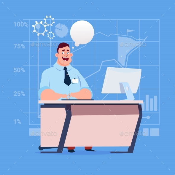 Business Man Sitting Desk Working at Computer - Concepts Business