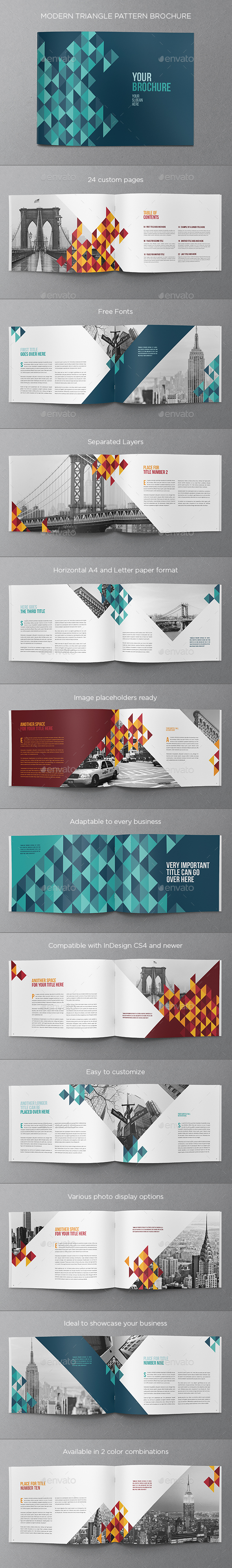 Colorful Triangle Pattern Brochure - Brochures Print Templates