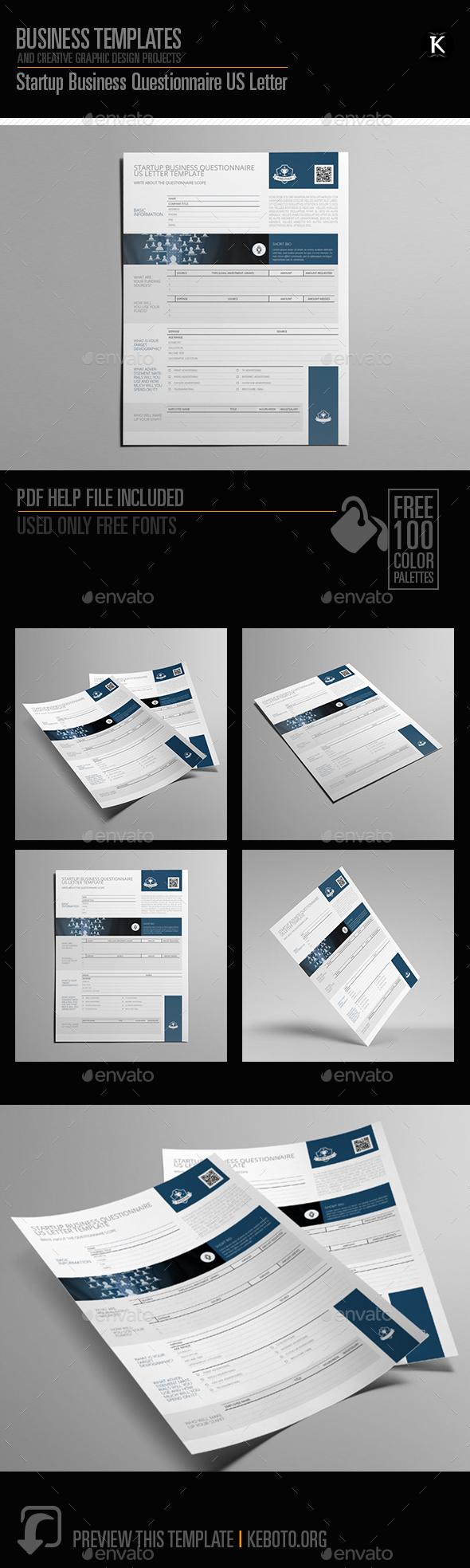 Startup Business Questionnaire US Letter - Miscellaneous Print Templates