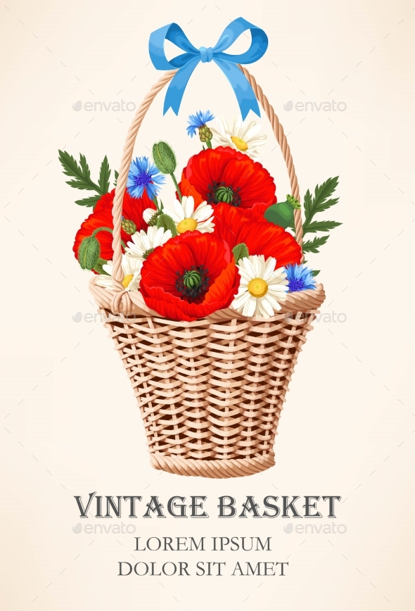 Vintage Basket with Flowers - Flowers & Plants Nature