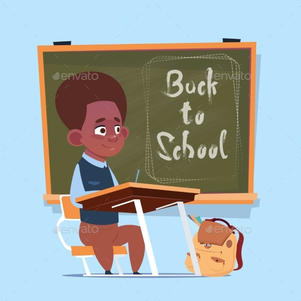 Small African American School Boy Sit At Desk - Miscellaneous Vectors