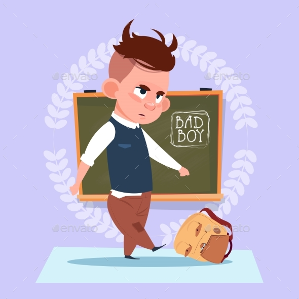 Small Bad School Boy Standing Over Class Board - Miscellaneous Vectors