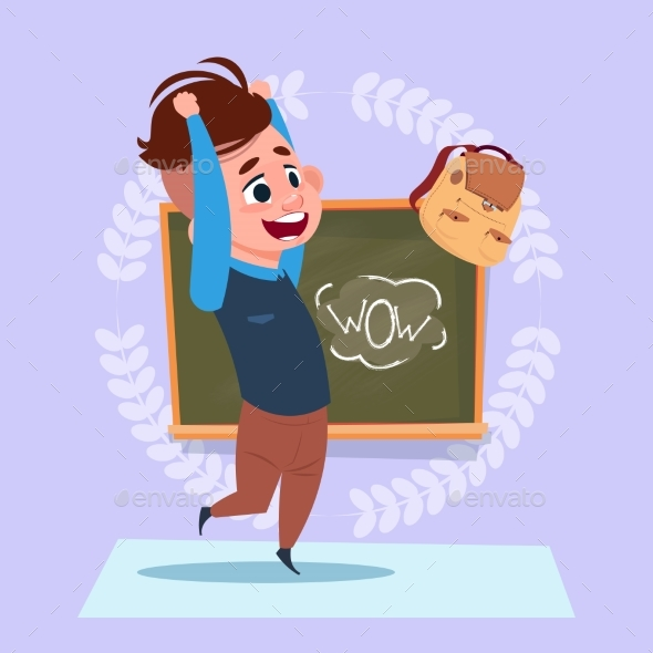 Small School Boy Standing Over Class Board - Miscellaneous Vectors