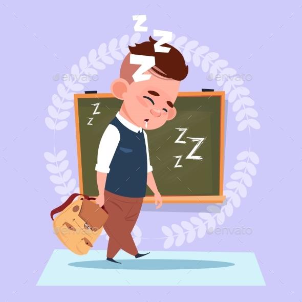 Small School Boy Sleep Tired Standing Over Class - Miscellaneous Vectors