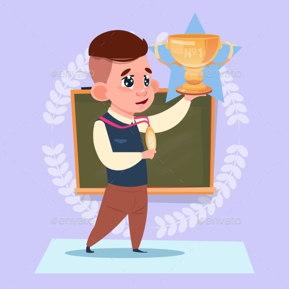 Small School Boy Hold Winner Cup Standing Over - Miscellaneous Vectors