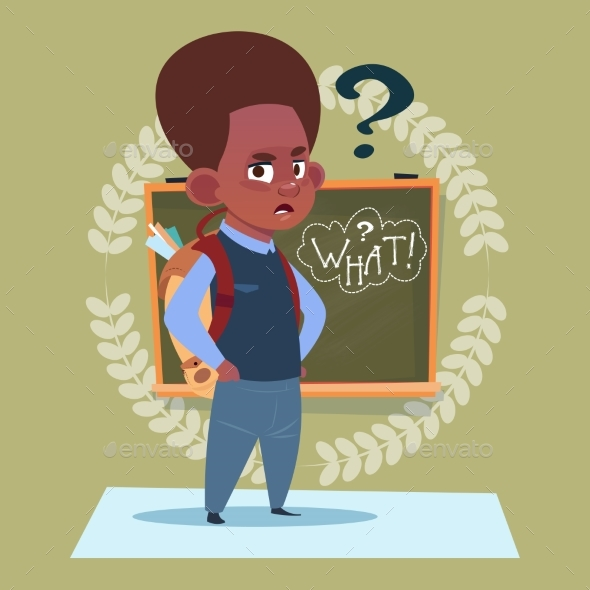 Small African American School Boy Standing - Miscellaneous Vectors