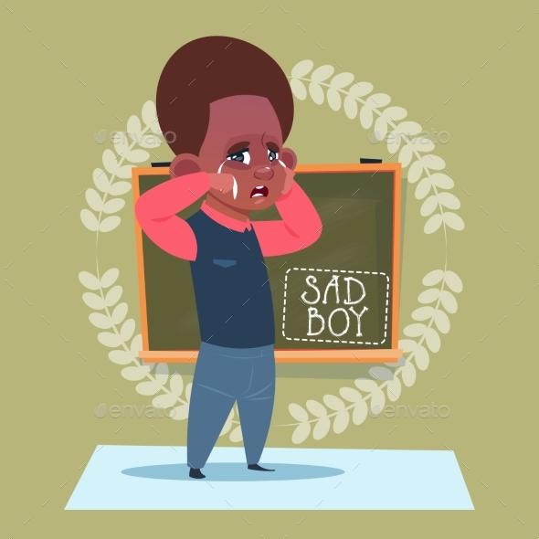 Small Sad School Boy Standing Over Class Board - Miscellaneous Vectors