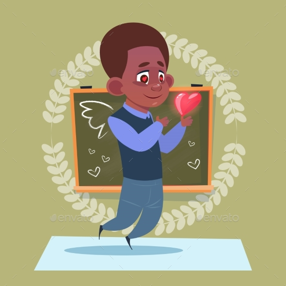 Small School Boy In Love Hold Heart Shape Standing - Miscellaneous Vectors