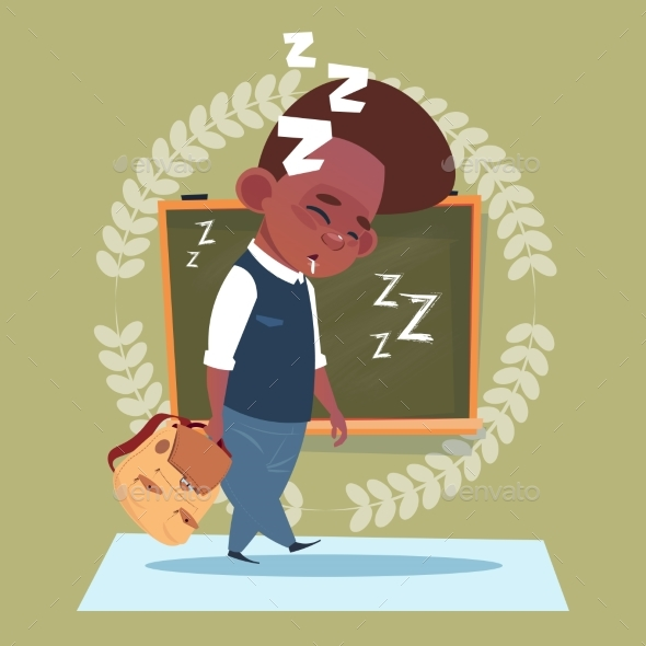 Small School Boy Sleep Tired Standing Over Class - Miscellaneous Vectors