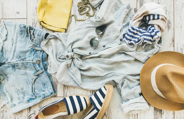 Pastel coloured summer women's clothes, parquet background - Stock Photo - Images