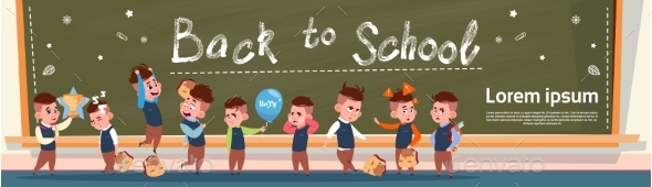 Back To School Group Of Small Pupils Girls - Miscellaneous Vectors