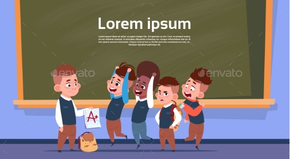 Mix Race Pupils In Class Room After Test Show Mark - Miscellaneous Vectors