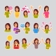 Girl Set Of Stickers For Messenger, Label Icon