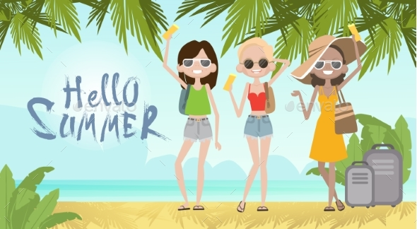 GraphicRiver Girls On Summer Beach Vacation Concept Seaside 20247980