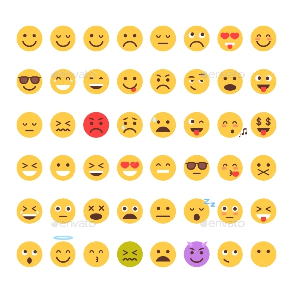 Yellow Cartoon Face Set Emoji People Different - Miscellaneous Vectors