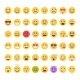 Yellow Cartoon Face Set Emoji People Different