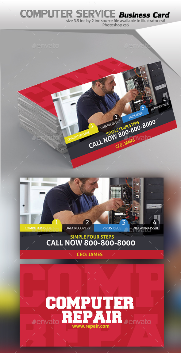 Computer Repair Service Business Card - Business Cards Print Templates