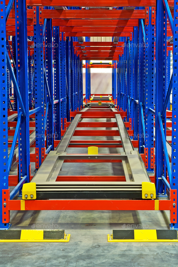 Warehouse storage inside shelving metal pallet racking systems - Stock Photo - Images