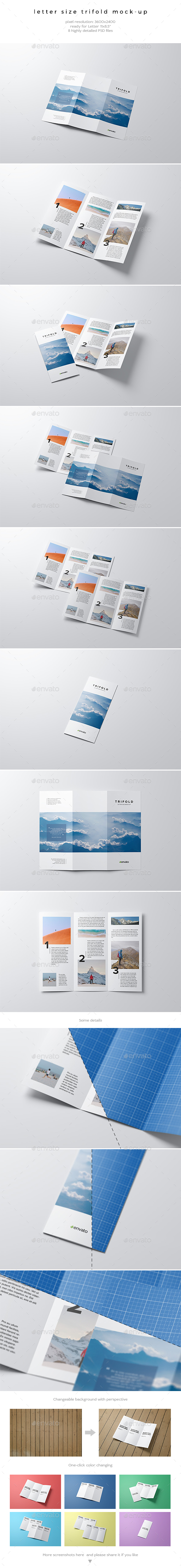 Letter Size Trifold Mock-Up - Brochures Print