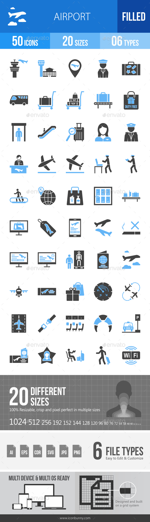Airport Blue & Black Icons - Icons