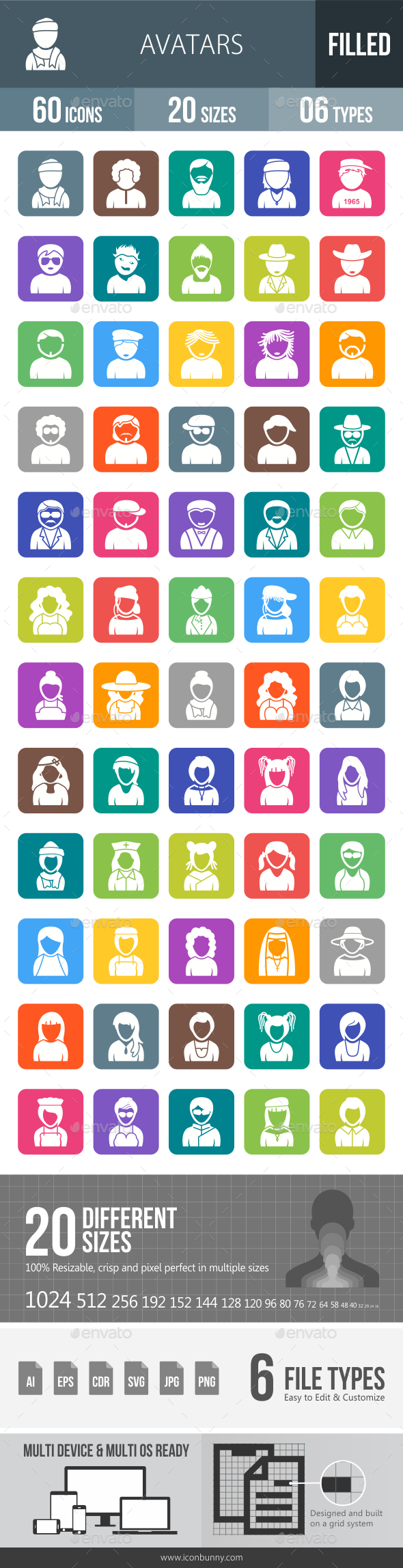 GraphicRiver Avatars Flat Round Corner Icons 20248629