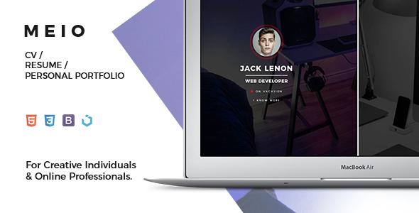 nulled template  meio  u2013 portfolio    cv    resume for