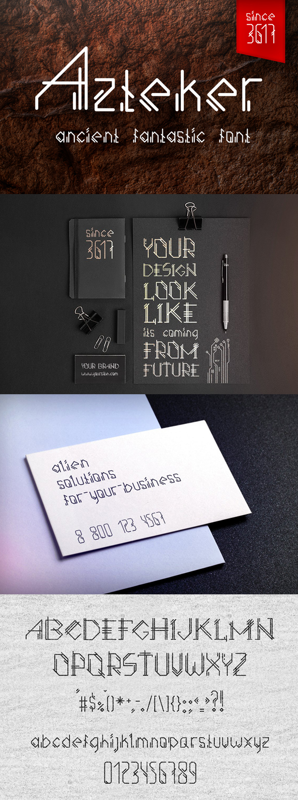 Azteker - Ancient Fantastic Font - Sans-Serif Fonts