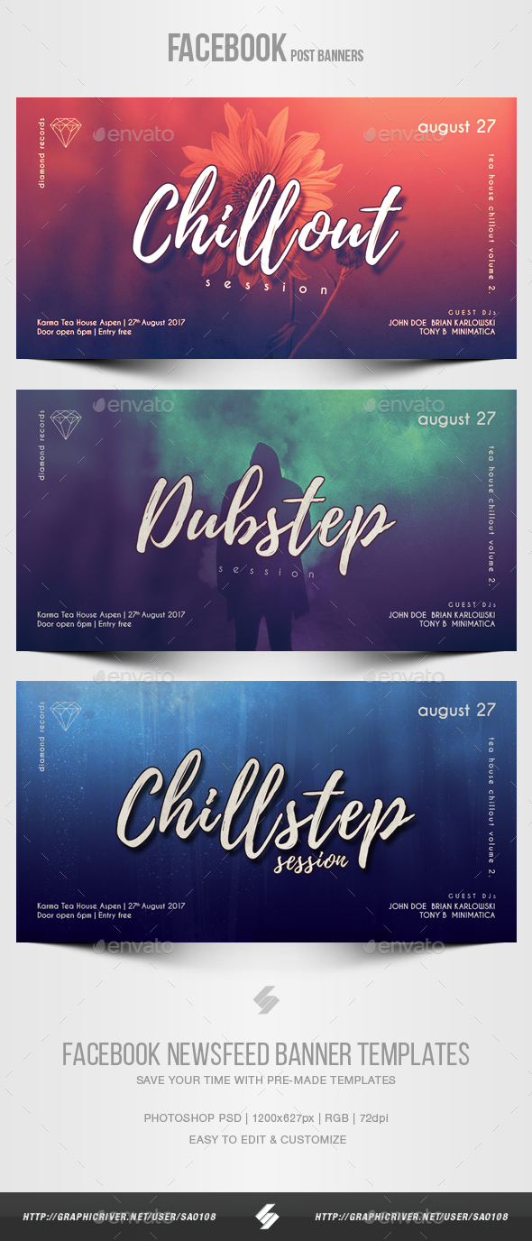 Electronic Music Party vol.25 - Facebook Post Banner Templates - Social Media Web Elements