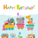 Birthday Animals On Train - GraphicRiver Item for Sale
