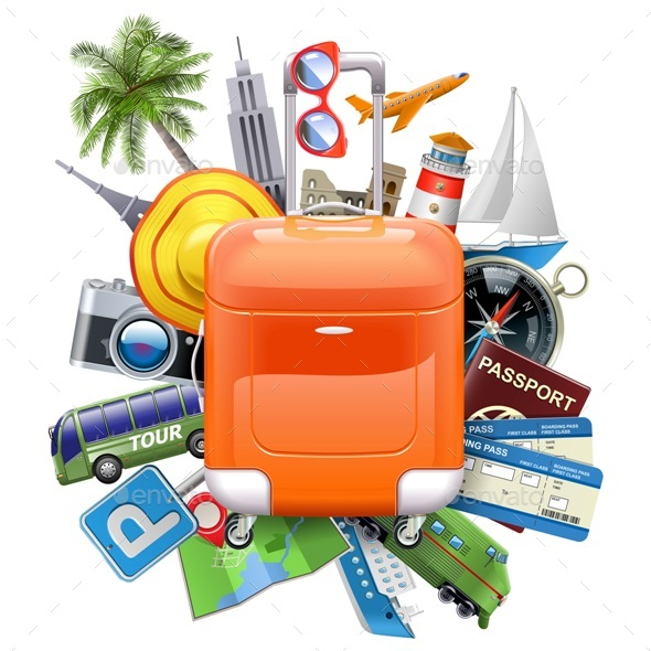 Vector Travel Concept with Rolling Bag - Travel Conceptual