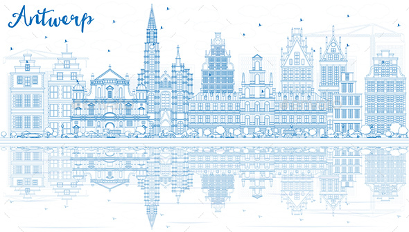 Outline Antwerp Skyline with Blue Buildings and Reflections. - Buildings Objects