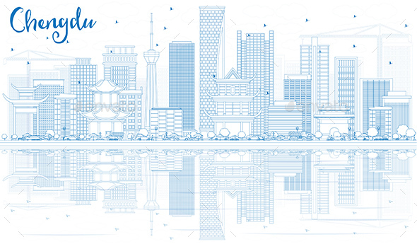 Outline Chengdu Skyline with Blue Buildings and Reflections. - Buildings Objects