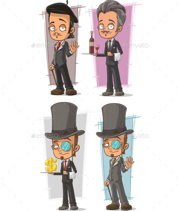 Cartoon Intelligent in Suit Character Vector Set - People Characters