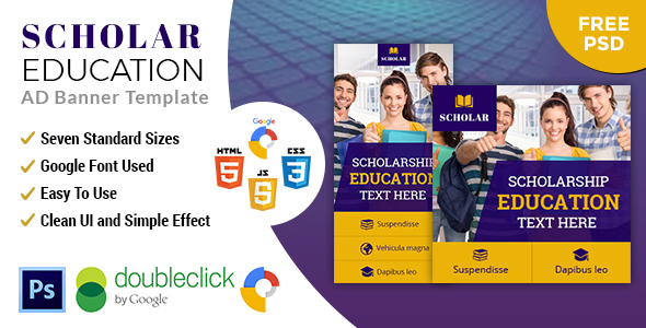 Scholar Education | HTML5 Google Banner Ad